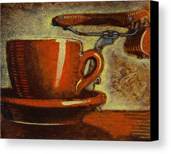 Coffee Canvas Print featuring the painting Still Life With Racing Bike by Mark Jones
