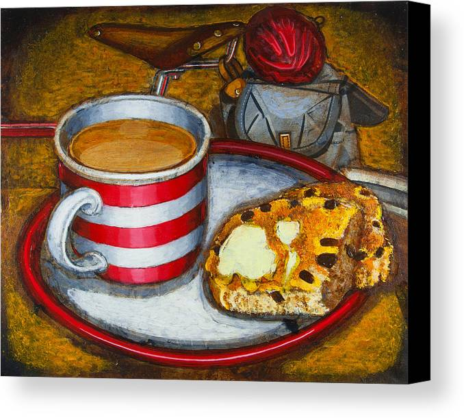 Tea Canvas Print featuring the painting Still Life With Red Touring Bike by Mark Howard Jones