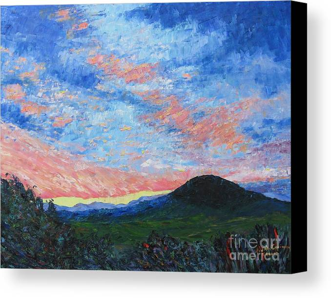 Landscape Canvas Print featuring the painting Sun Setting Over Mole Hill - Sold by Judith Espinoza