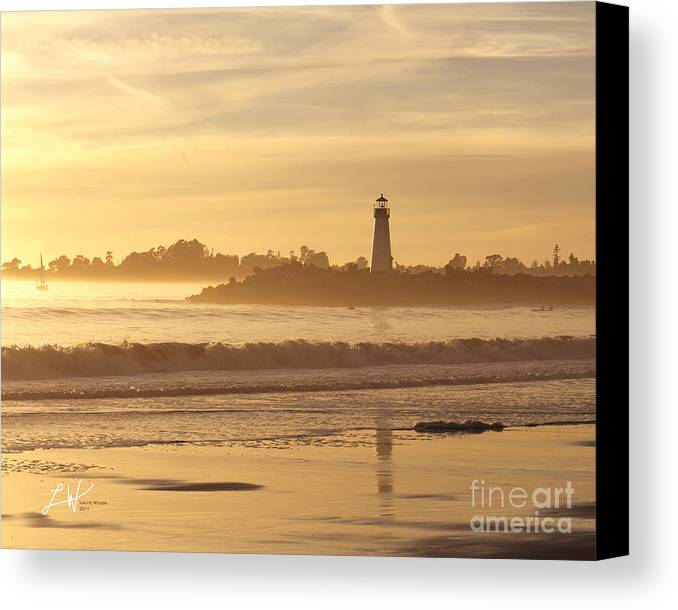 Capitola Canvas Print featuring the photograph Sunset On The Lighthouse In Santa Cruz Harbor by Artist and Photographer Laura Wrede