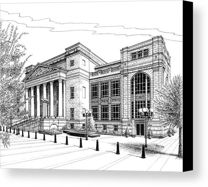 Architecture Canvas Print featuring the drawing Symphony Center In Nashville Tennessee by Janet King