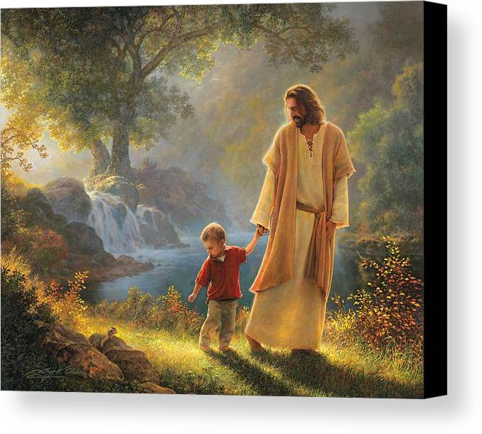Jesus Canvas Print featuring the painting Take My Hand by Greg Olsen