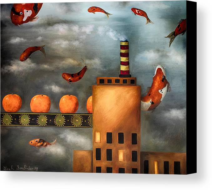 Tangerine Canvas Print featuring the painting Tangerine Dream Edit 2 by Leah Saulnier The Painting Maniac