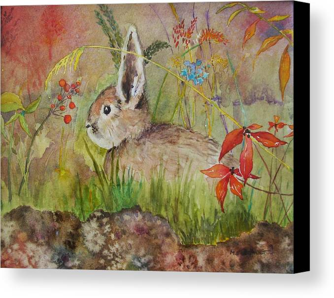 Nature Canvas Print featuring the painting The Bunny by Mary Ellen Mueller Legault