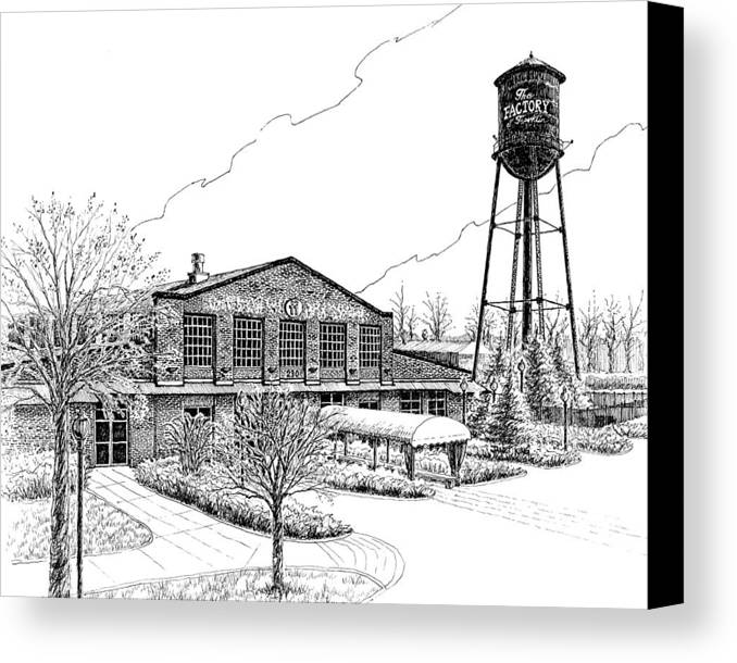 Pen And Ink Drawing Canvas Print featuring the drawing The Factory In Franklin Tennessee by Janet King