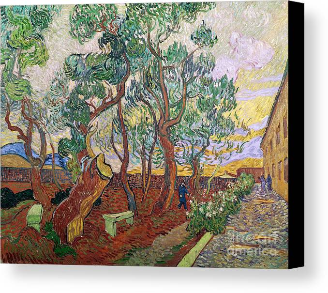 Tree Canvas Print featuring the painting The Garden Of St Pauls Hospital At St. Remy by Vincent Van Gogh