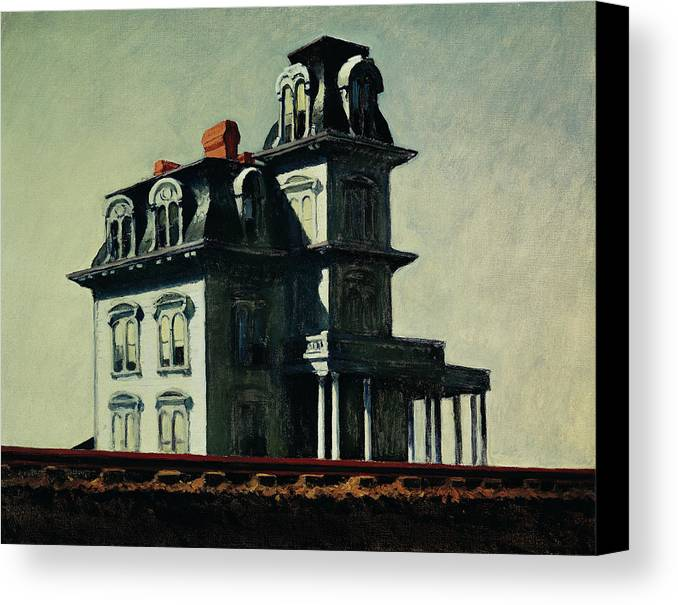 Eerie Canvas Print featuring the painting The House By The Railroad by Edward Hopper