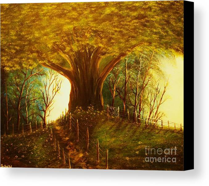 Oak. Tree.park Canvas Print featuring the painting The Oak Tree-original Sold-buy Giclee Print Nr 31 Of Limited Edition Of 40 Prints by Eddie Michael Beck