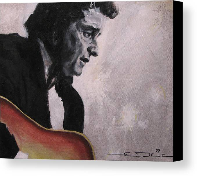 Johnny Cash Canvas Print featuring the painting The Ring Of Fire by Eric Dee