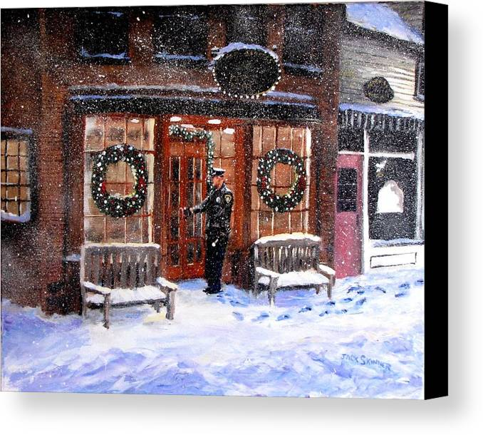 Police Canvas Print featuring the painting The Shiver And Shake Watch On Christmas Eve by Jack Skinner