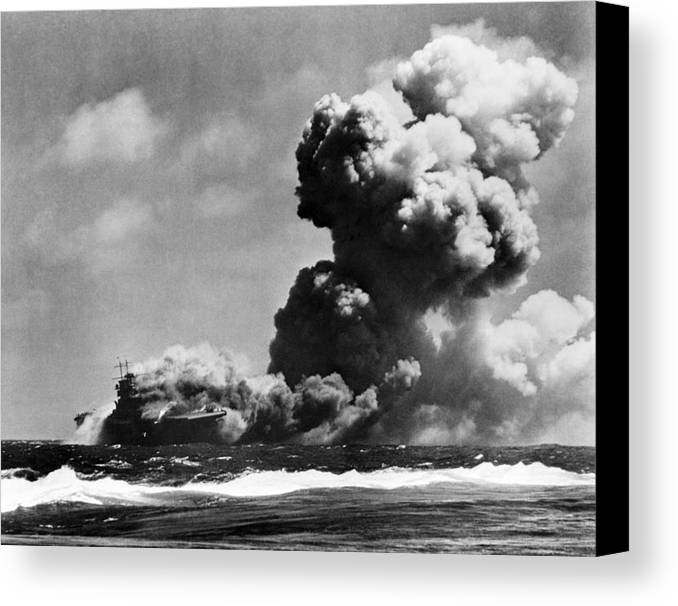 History Canvas Print featuring the photograph The Uss Wasp Burning by Everett