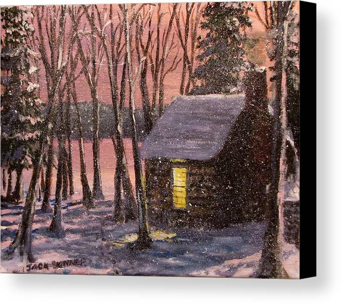 Thoreau's Cabin Canvas Print featuring the painting Thoreau's Cabin by Jack Skinner