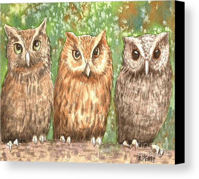 Owls Canvas Print featuring the painting Three Wise Men by Audrey Peaty