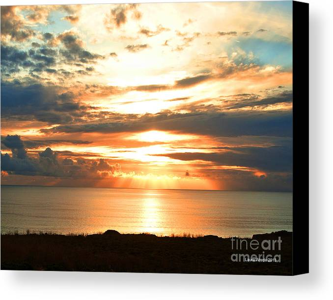 Beach Art Canvas Print featuring the photograph Tomorrow Is A New Day- Beach At Sunset by Artist and Photographer Laura Wrede