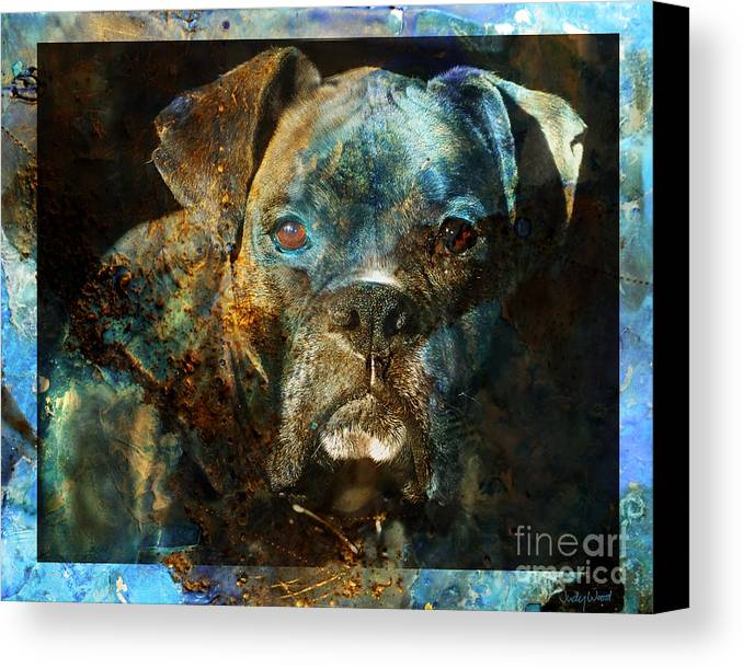 Dog Canvas Print featuring the digital art True Colours by Judy Wood