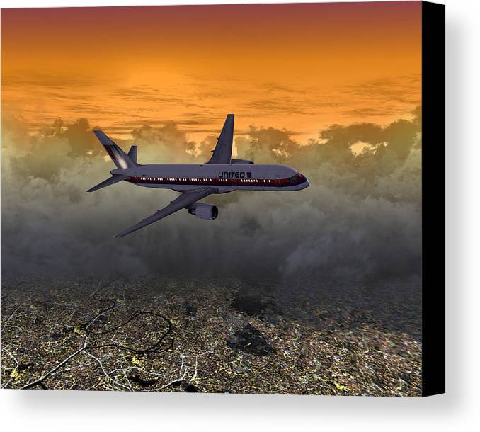 Flight Canvas Print featuring the digital art Ua 757 20x10 01 by Mike Ray