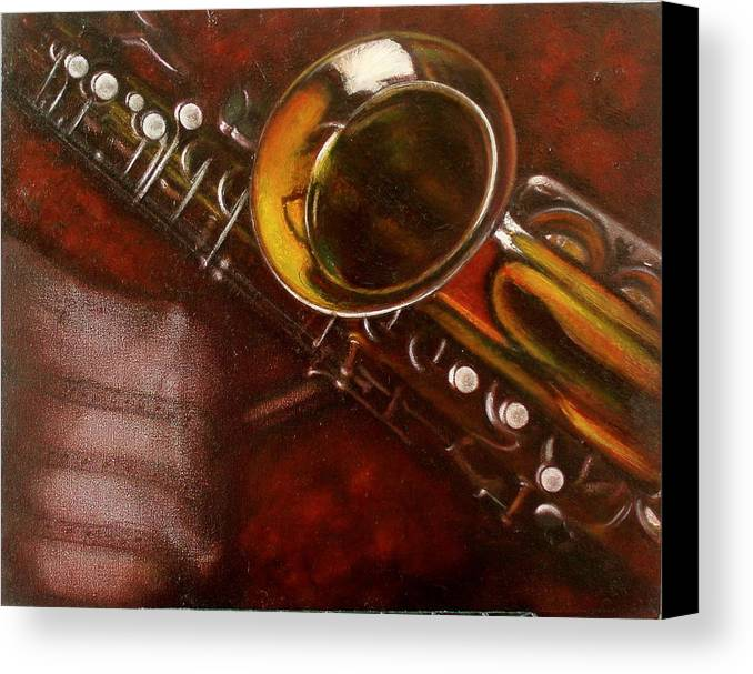 Still Life Canvas Print featuring the painting Unprotected Sax by Sean Connolly