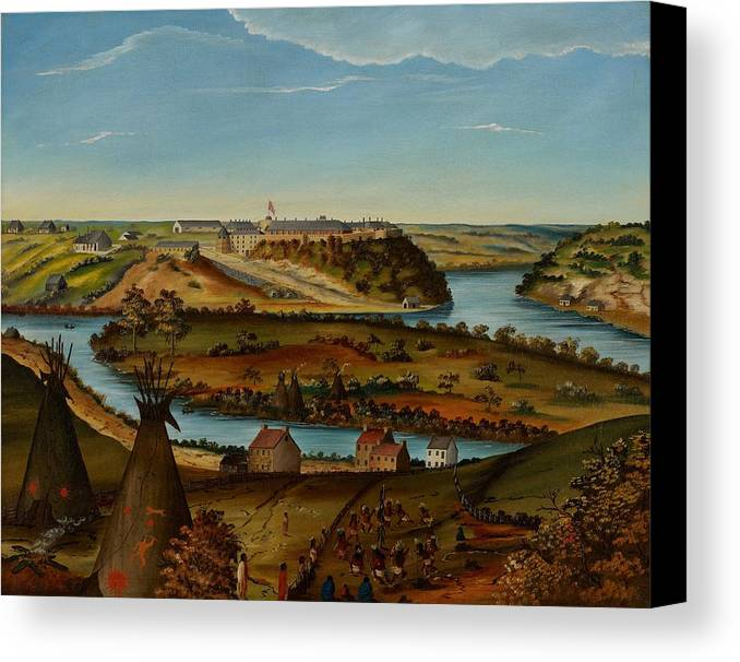 View; Panorama; Fort Snelling; Minnesota; Landscape; Teepee; Tipi; Native Americans; Colonial; Camp; Military; Mississippi; River; America; American; Usa; Naive; Red Indians; Houses; Buildings; Exterior; View; Panorama; Fort Snelling; Minnesota; Landscape; Teepee; Tipi; Native Americans; Colonial; Camp; Military; Mississippi; River; America; American; Usa; Naive; Red Indians; Houses; Buildings; Exterior; Tent Canvas Print featuring the painting View Of Fort Snelling by Edward K Thomas
