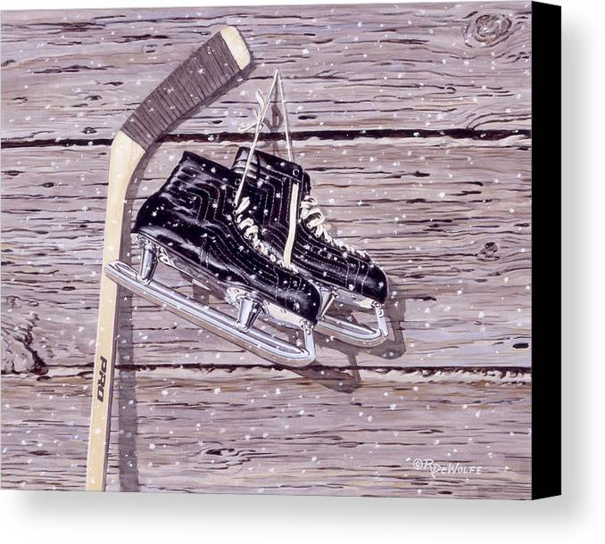 Hockey Canvas Print featuring the painting Wall Of Fame by Richard De Wolfe