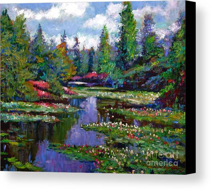 Impressionism Canvas Print featuring the painting Waterlily Lake Reflections by David Lloyd Glover