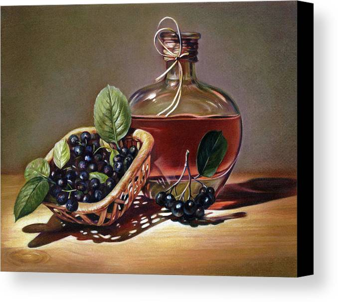 Wine Canvas Print featuring the drawing Wine And Berries by Natasha Denger