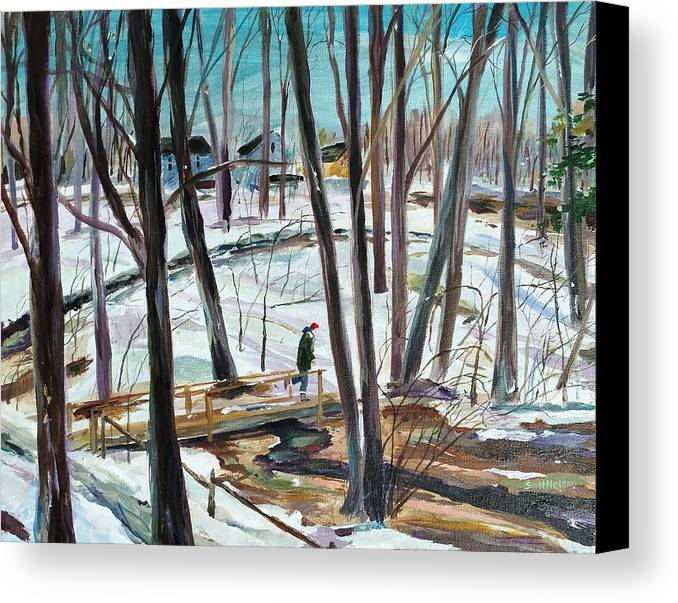 Acrylic Canvas Print featuring the painting Winter Footbridge by Scott Nelson