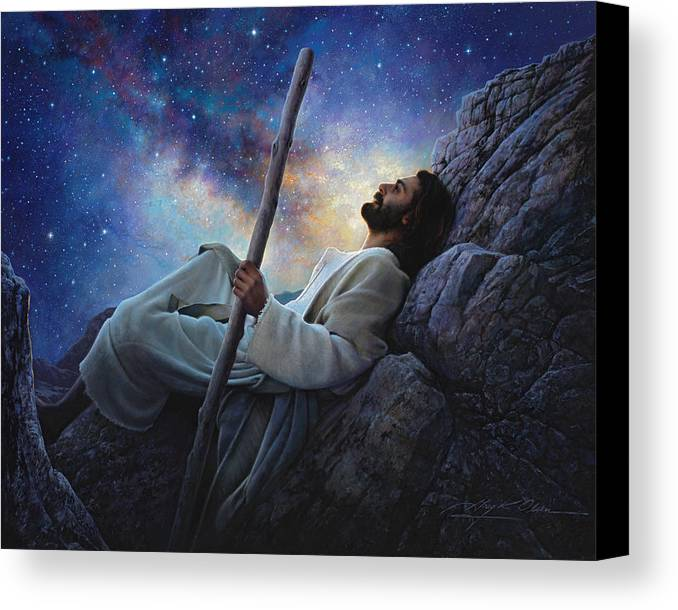 Jesus Canvas Print featuring the painting Worlds Without End by Greg Olsen