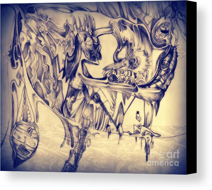 Abstract Canvas Print featuring the drawing WW3 by Daniel Brummitt