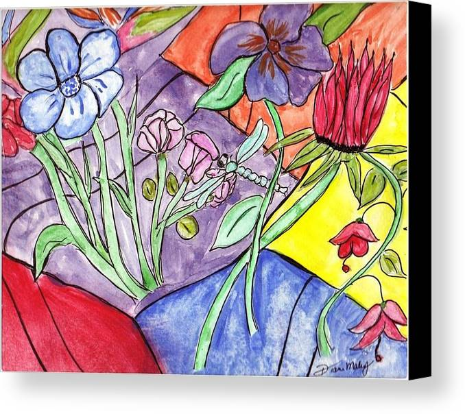 Flowers Canvas Print featuring the mixed media Bold Flowers by Diane Maley