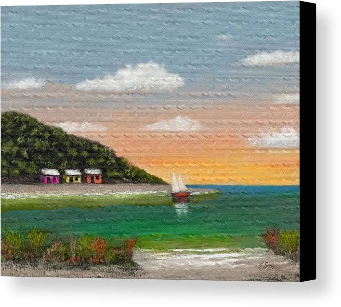 Tropical Seascape Colorful Cottages Sunset Trees Sea Ocean Vista Beach Water Sailboat Sailing Inlet Bay Coastal Beautiful Contemporary Pastel G. Canvas Print featuring the painting Canary Cove by Gordon Beck