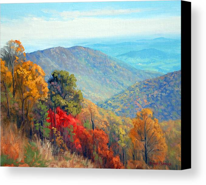 Autumn Canvas Print featuring the painting Thornton Gap by Armand Cabrera