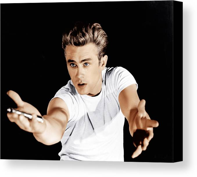 1950s Portraits Canvas Print featuring the photograph Rebel Without A Cause, James Dean, 1955 by Everett
