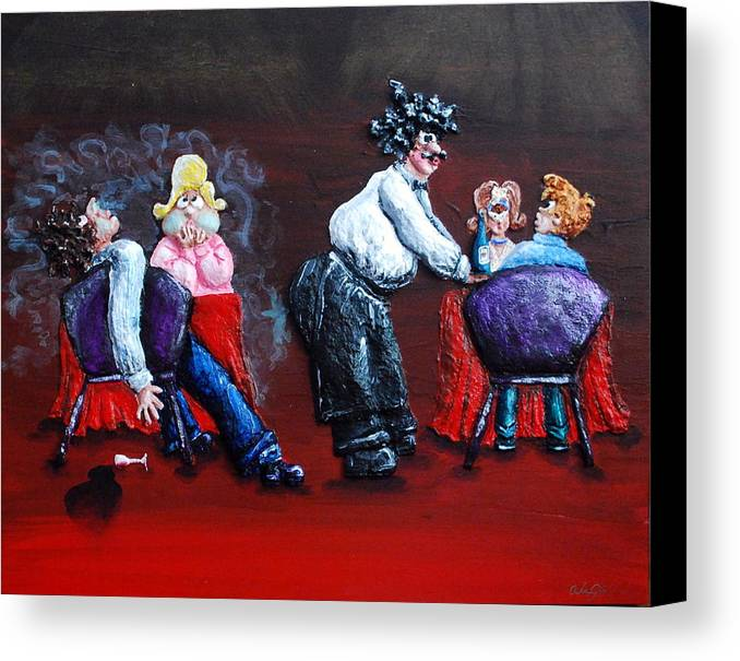 Red Canvas Print featuring the painting A Waiter's Revenge - Silent But Deadly by Alison Galvan