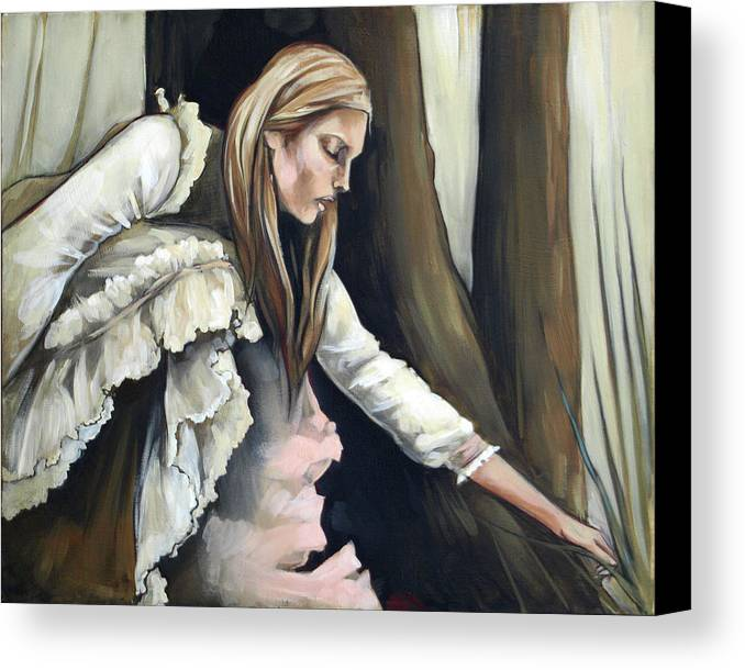 Blonde Canvas Print featuring the painting Across by Jacque Hudson