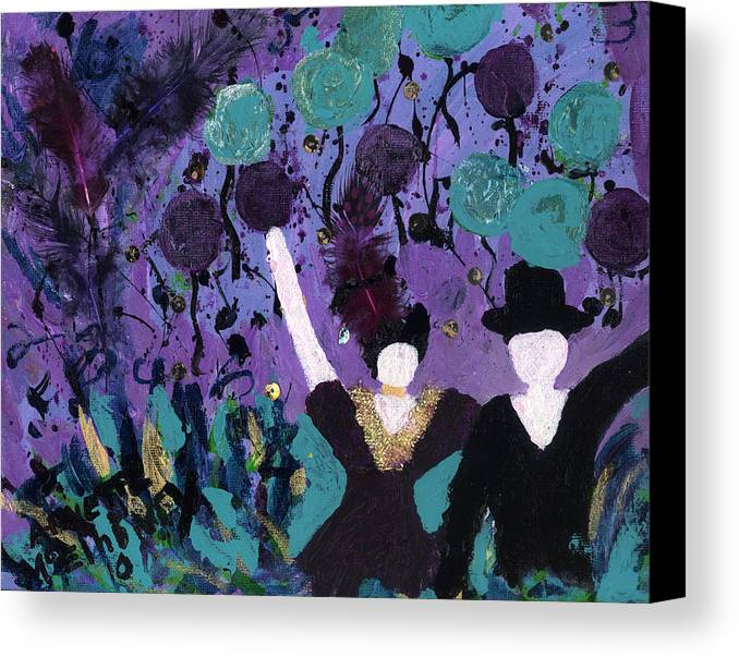 Women Canvas Print featuring the painting Althea Dances With Ned by Annette McElhiney