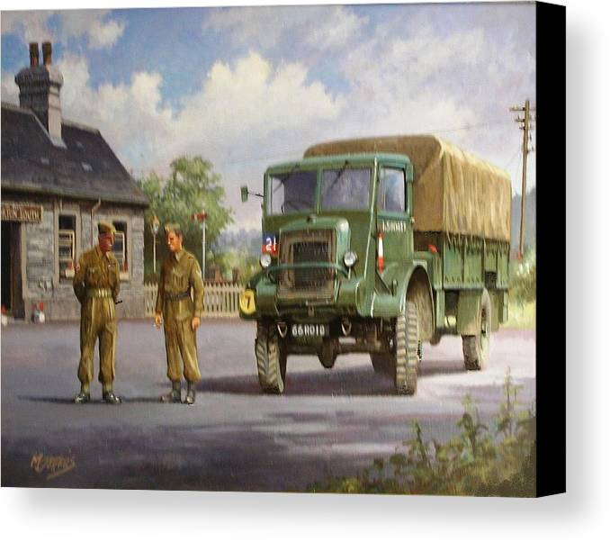Lorry Canvas Print featuring the painting Bedford Ql by Mike Jeffries