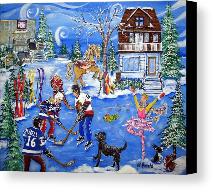 Canvas Print featuring the painting Bell Rink by Jill Alexander