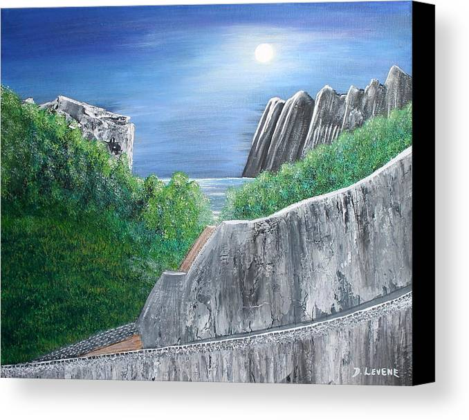 Rocks Canvas Print featuring the painting Beyond The Rock by Debbie Levene