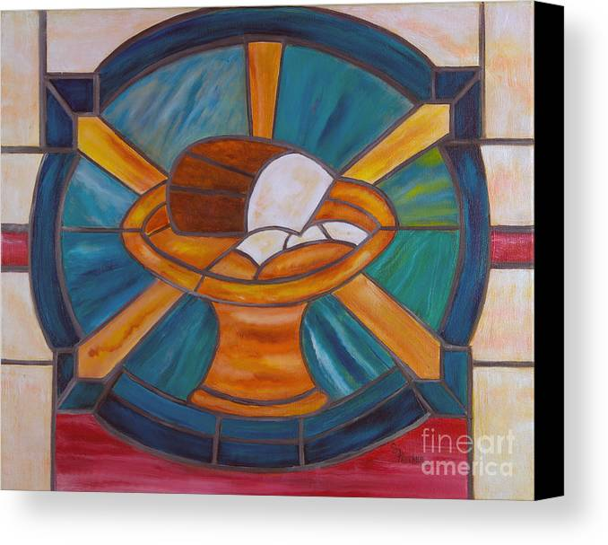 Stained Glass Canvas Print featuring the painting Bread Of Life by Sheila Feltner