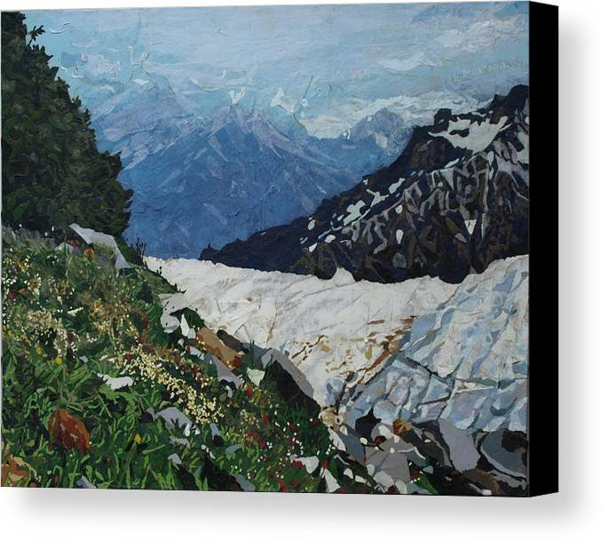 Landscape Canvas Print featuring the painting Climbing Mount Rainier by Leah Tomaino