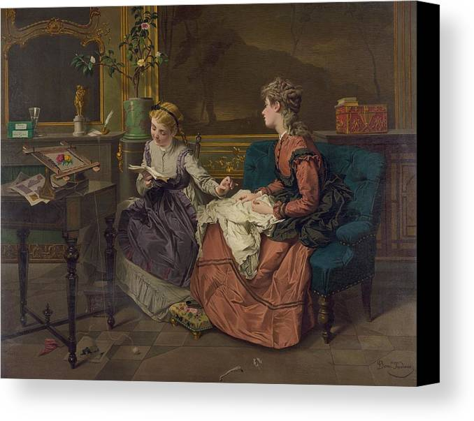 History Canvas Print featuring the photograph Domestic Scene With Two Girls, One by Everett