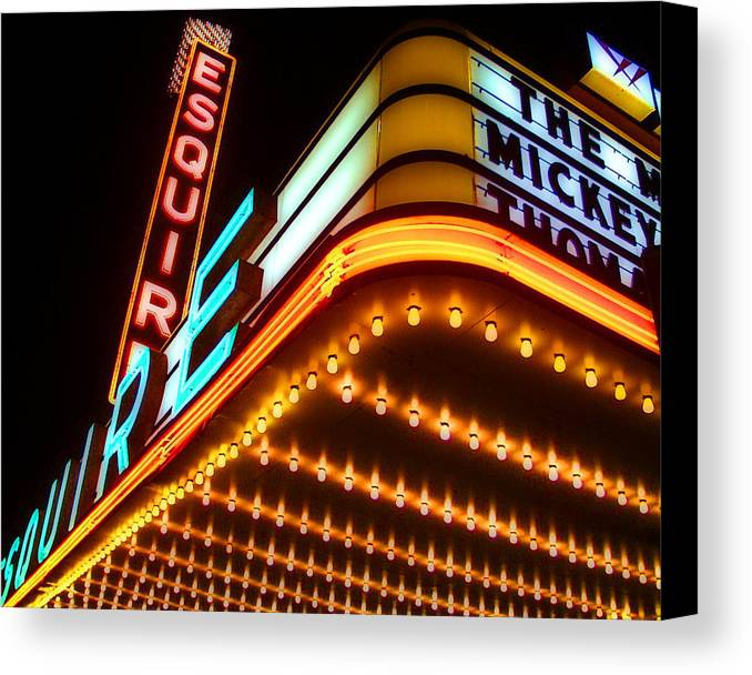 Americana Canvas Print featuring the digital art Esquire Theater by Brian Gregory