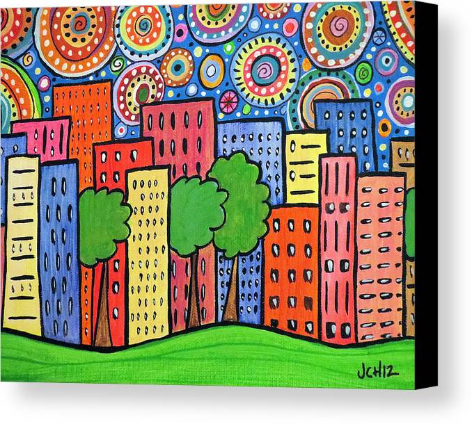 Town Canvas Print featuring the painting Funky Town by Jo Claire Hall