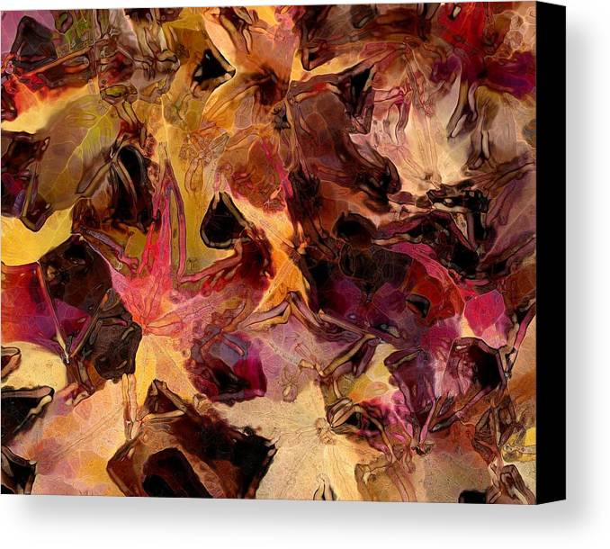 Leaves Canvas Print featuring the digital art Glass Leaves by Marilyn Sholin