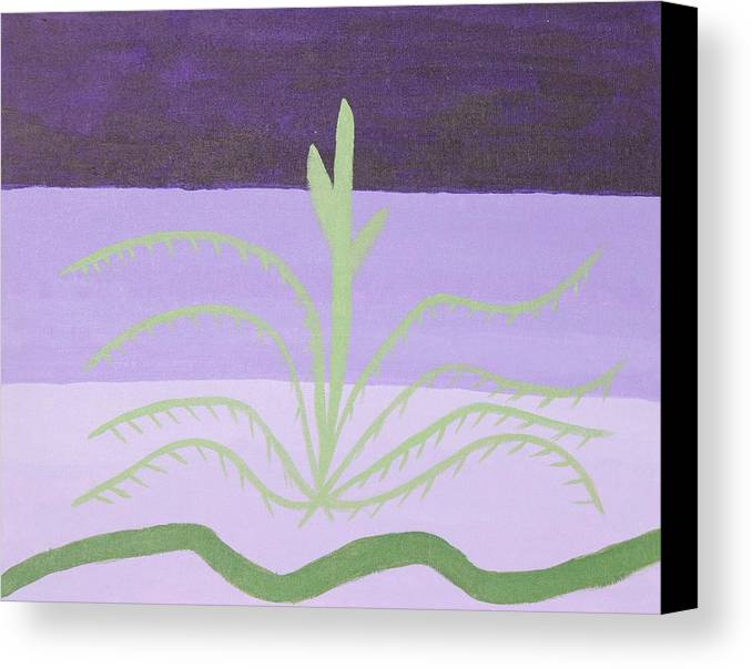 Different Shades Of Purple And Green Canvas Print featuring the painting Growing by Chevonne Witherspoon