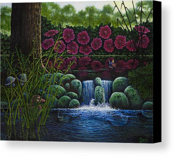 Baby Duck Canvas Print featuring the painting Hiding Duckie by Michael Frank