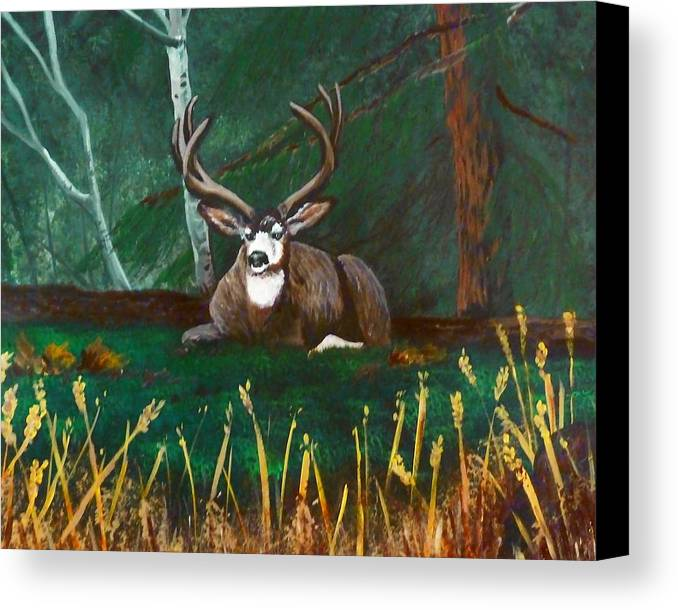 Deer Canvas Print featuring the painting In The Woods by Jennifer Jeffris