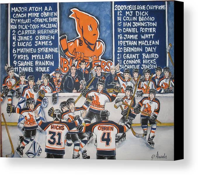 Canvas Print featuring the painting Kanata Blazer Celebration by Jill Alexander