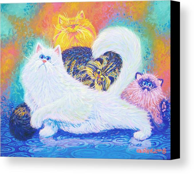 Cats Canvas Print featuring the painting Kitties For Jenny by Baron Dixon