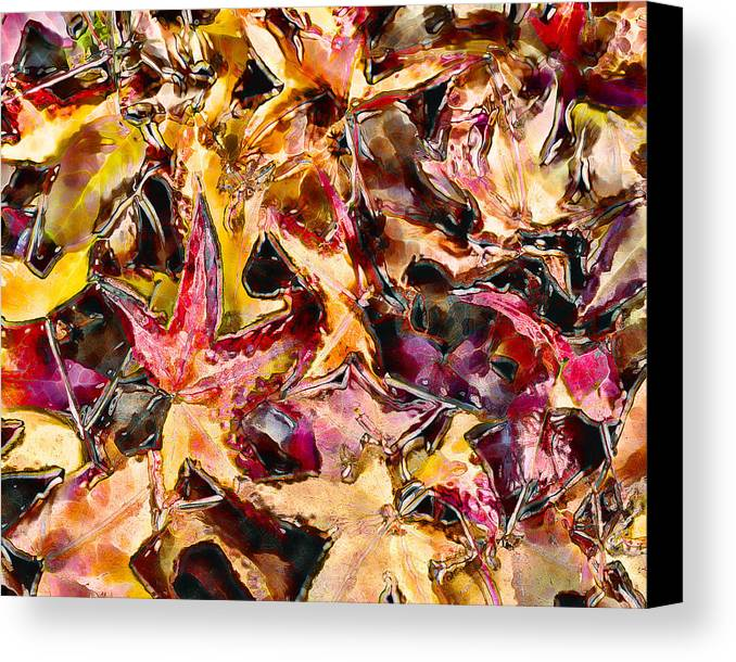 Leaves Canvas Print featuring the digital art Leaves On Acid by Marilyn Sholin
